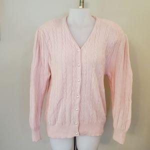 Vintage Wool Blend Pink Pearl Cardigan Large